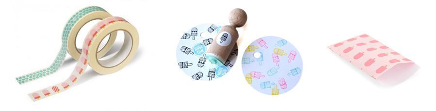 Een stempeltje, tape en cadeauzakje met ijsjes om je zomerse post mee te pimpen!