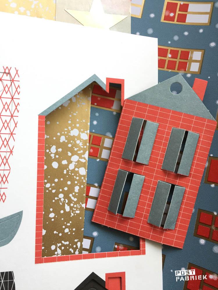 Cadeaulabel in de vorm van een huisje met raampjes die echt open kunnen! Verkrijgbaar bij Vlinders in je buik.
