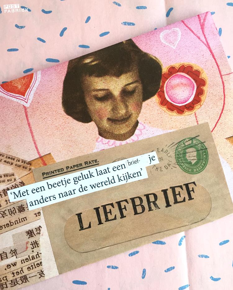 Een envelop met een afbeelding uit Filatelie erop geplakt