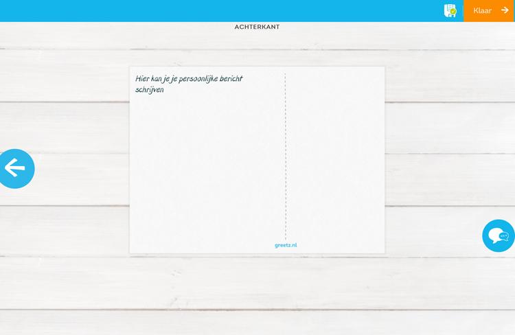Je kan een persoonlijk bericht toevoegen aan je kaart en hebt de keuze uit verschillende lettertypes