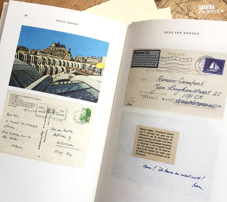 Pagina's in het boek Aanelkaar: een selectie van de rare ansichtkaarten en kolderieke plakwerkjes die Remco Campert en Kees van Kooten elkaar door de jaren heen stuurden.