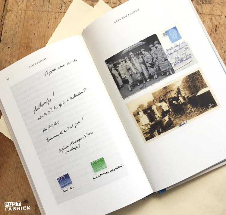 Een selectie van de rare ansichtkaarten en kolderieke plakwerkjes die Remco Campert en Kees van Kooten elkaar door de jaren heen stuurden