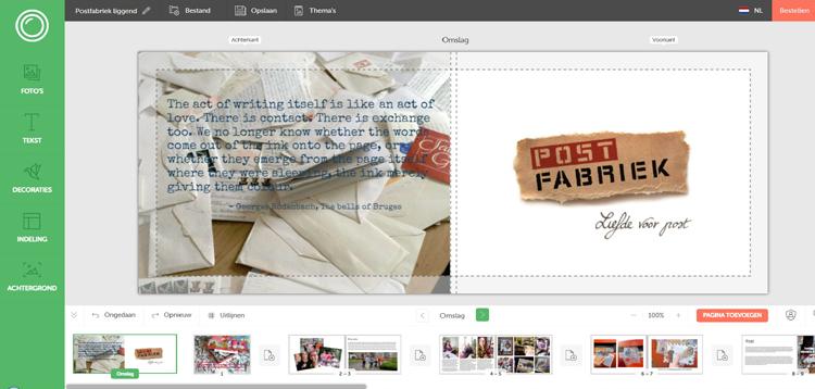 Ons ontwerp in de Online Editor van Fotofabriek.nl