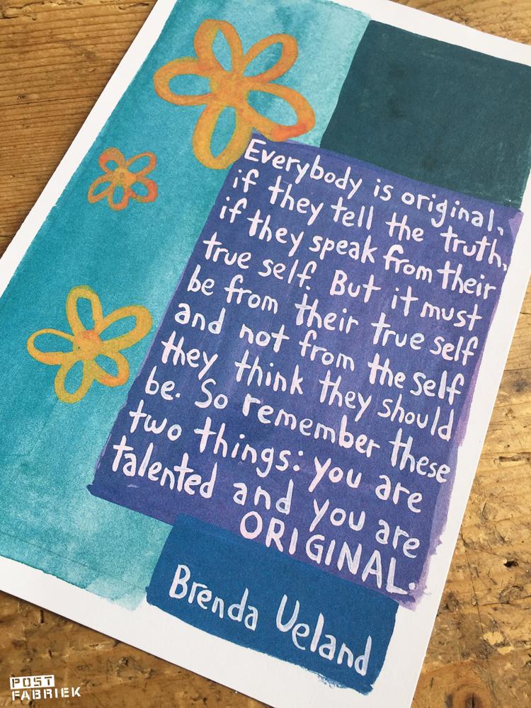 Een kaart met quote van Brenda Ueland