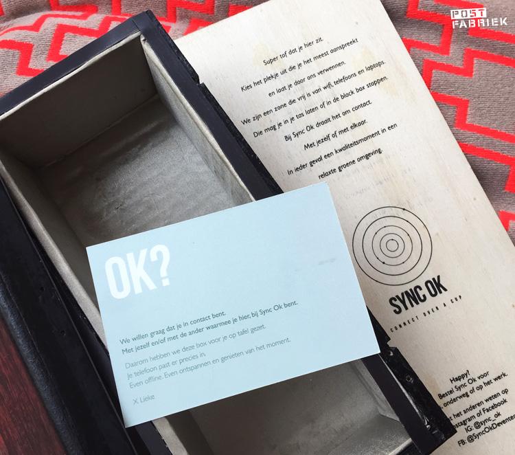 Een kaartje in de black box van Sync Ok in Deventer