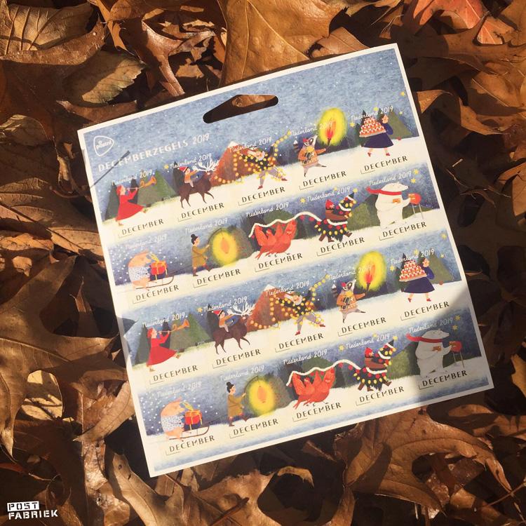 De decemberzegels van 2019 met illustraties van Lieke van der Vorst