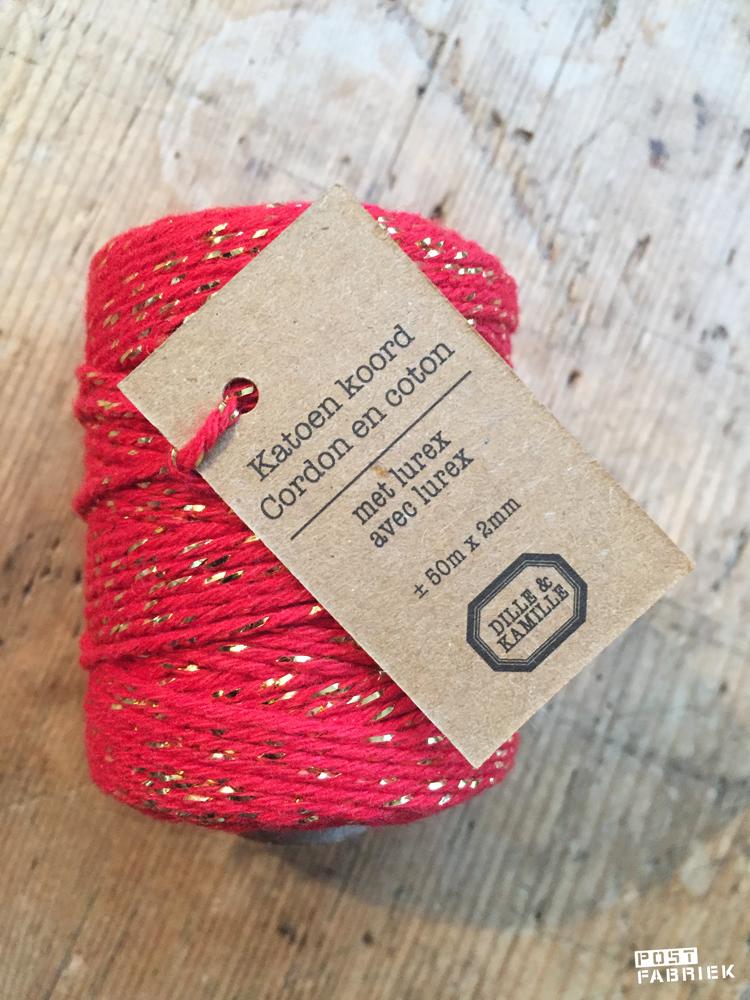 Rood katoen koord met glitters van Dille & Kamille