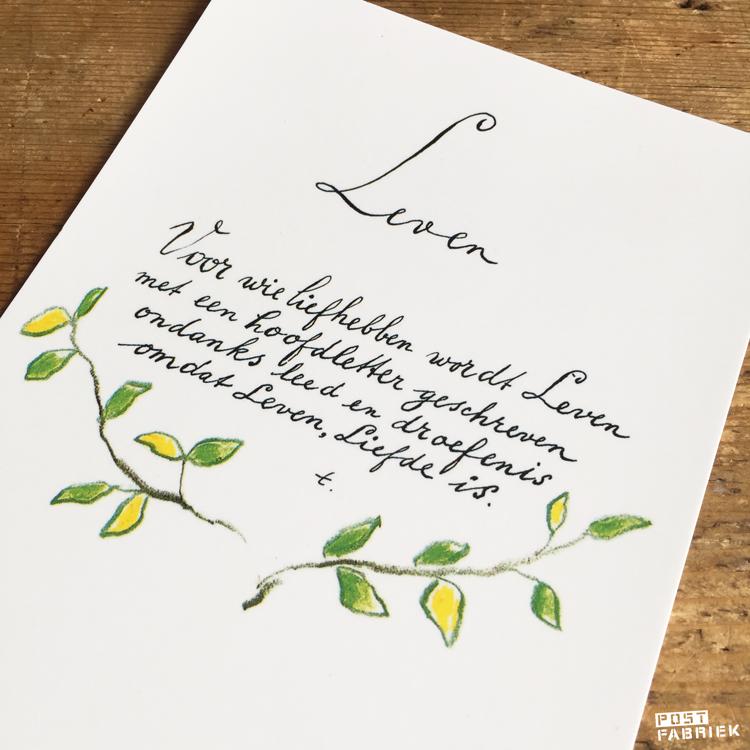 """Een ansichtkaart met de tekst """"Voor wie liefhebben wordt Leven met een hoofdletter geschreven ondanks leed en droefenis omdat Leven, Liefde is."""