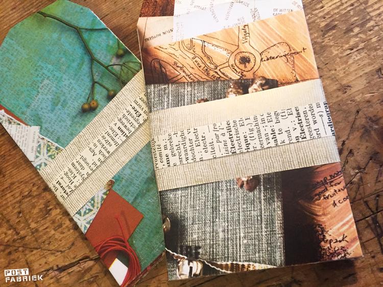 Zelf gevouwen zakjes samengebonden met een strook papier.