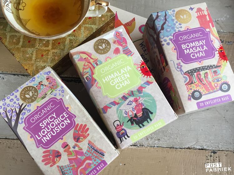 Drie verschillende doosjes thee van Ministry of Tea