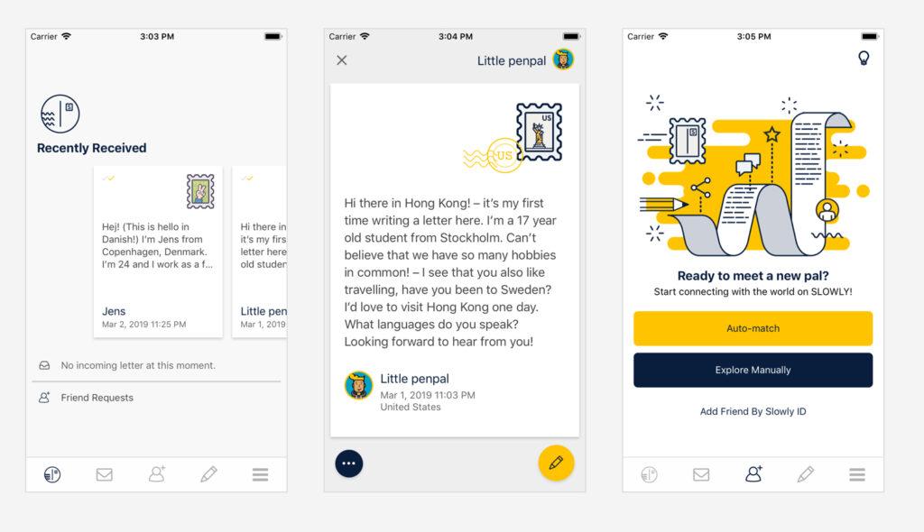 Op deze schermafbeelding van de website van Slowly zie je hoe een brief in deze app eruitziet, inclusief de postzegels die je hier pokken verzamelen.