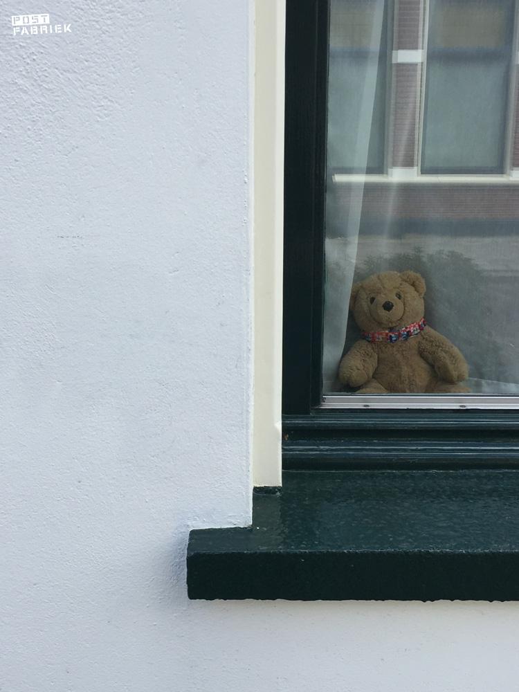 Een beer voor het raam in Hengelo voor de berenjacht die in meerdere landen gaande is