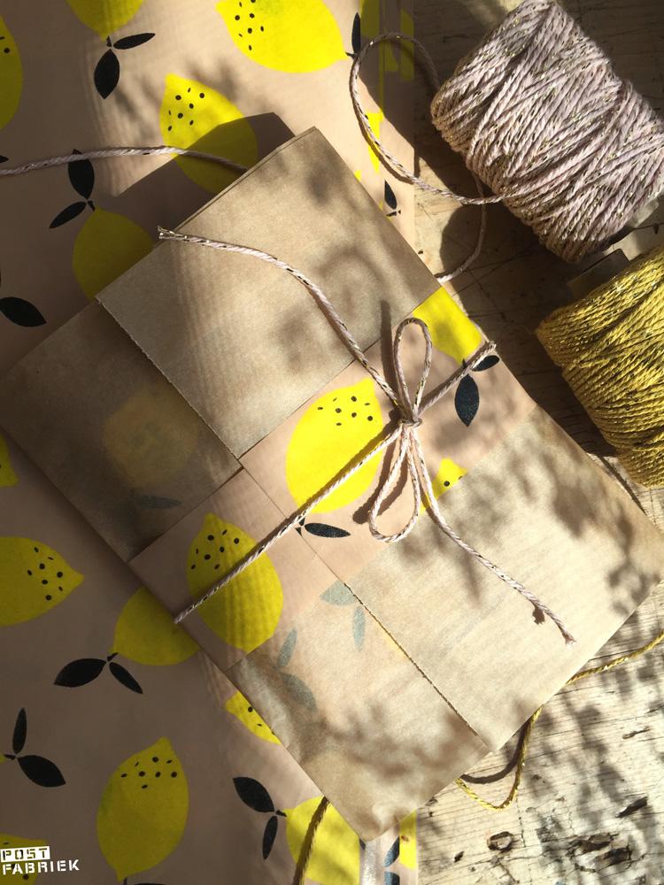 Cadeautje ingepakt in een papieren boterhamzakje van Ecoplaza