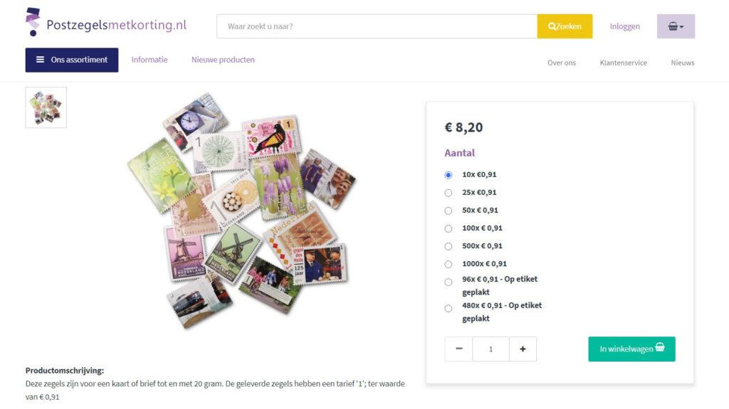Een schermafbeelding van PostzegelsMetKorting.nl