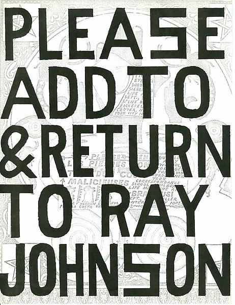 """Please add to & return to Ray Johnson."" Foto van Ray Johnson Estate."