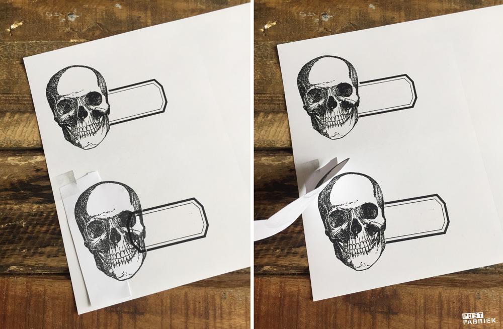 Een etikettensticker die ik heb gemaakt door twee verschillende stempels met elkaar te combineren. Op deze foto zie je hoe ik dat heb gedaan.