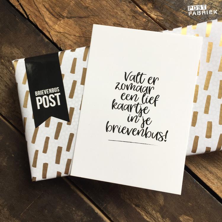 Cadeaupapier, sticker en kaartje met de tekst 'Valt er zomaar een lief kaartje in je brievenbus!' Alle producten bestelde ik bij Vlinders in je buik.