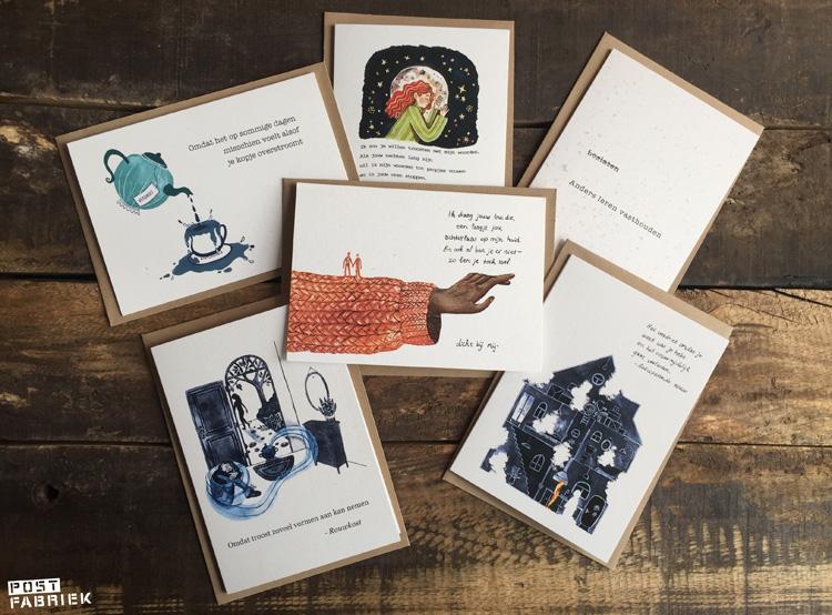 Een setje Verlieskaarten van Verlieskunst. Dit zijn zes van de twaalf kaarten die nu verkrijgbaar zijn.