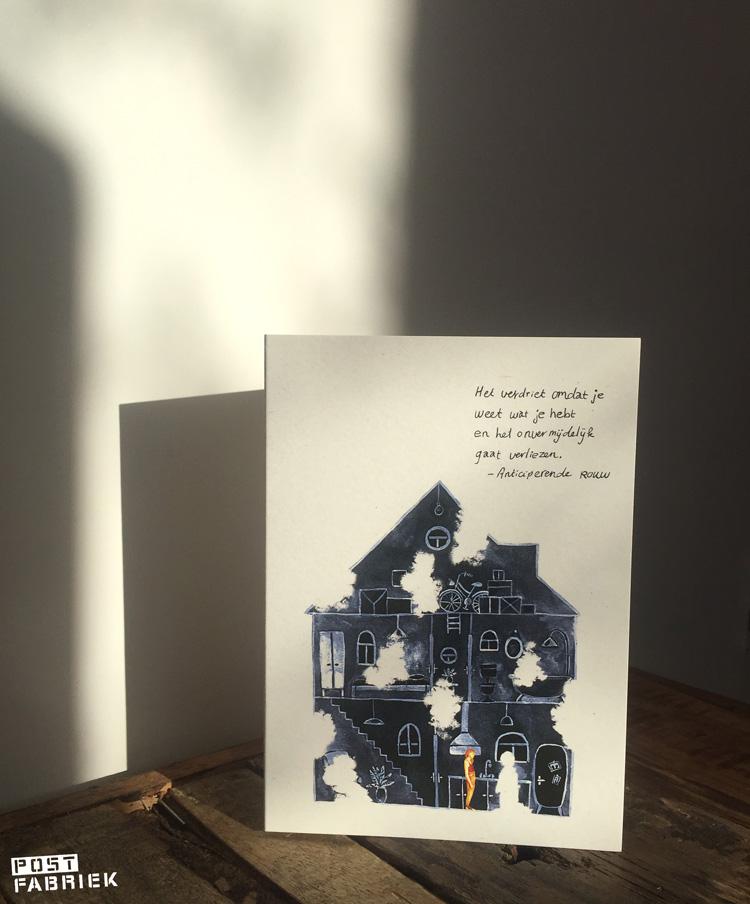 Een van de twaalf Verlieskaarten van Verlieskunst. De tekst is van Babet te Winkel, de illustratie van Aida de Jong.