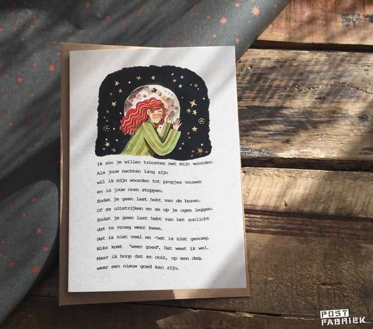 Een van de twaalf Verlieskaarten van Verlieskunst. De tekst op de kaart is van Babet te Winkel, de illustratie van Aida de Jong.