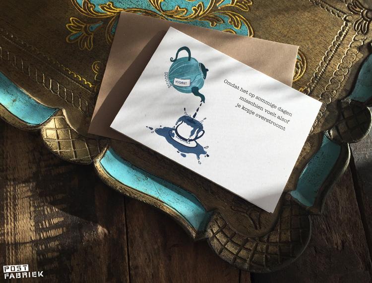 Een van de twaalf Verlieskaarten van Verlieskunst. De tekst op de kaart is van Babet te Winkel, de illustratie van Marlon Doomen.