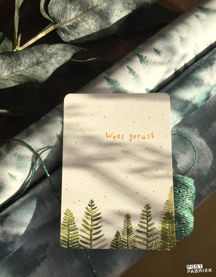 Een kaartje van Ninamaakt met de tekst 'wees gerust'.