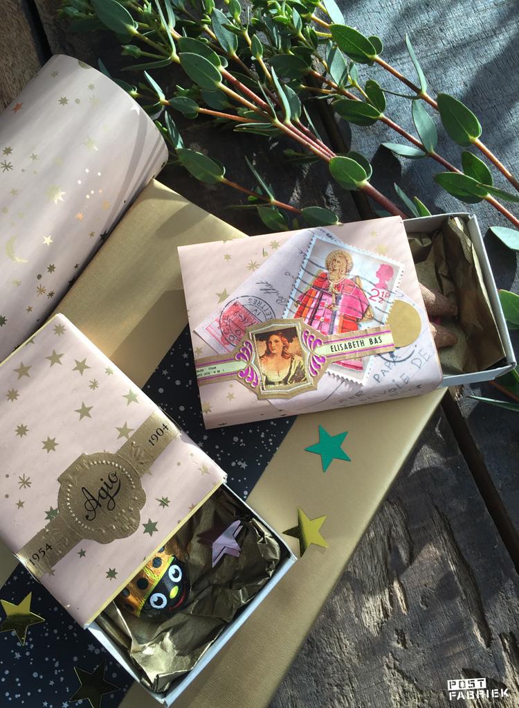 Met het perzik kleurige sterrenpapier toverde ik lege luciferdoosjes om tot een luxe cadeauverpakking.