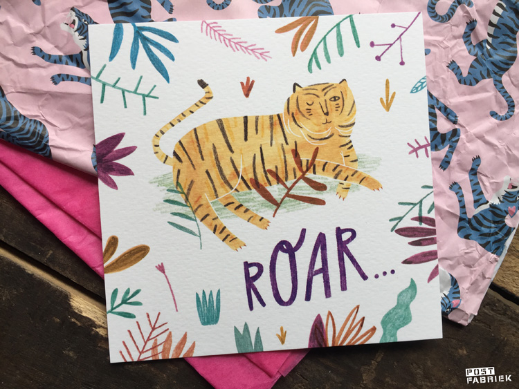Roar! Deze kaart met een knipogende tijger is ontworpen door Teken-ing en bestelde ik bij Hartje Mezelf.