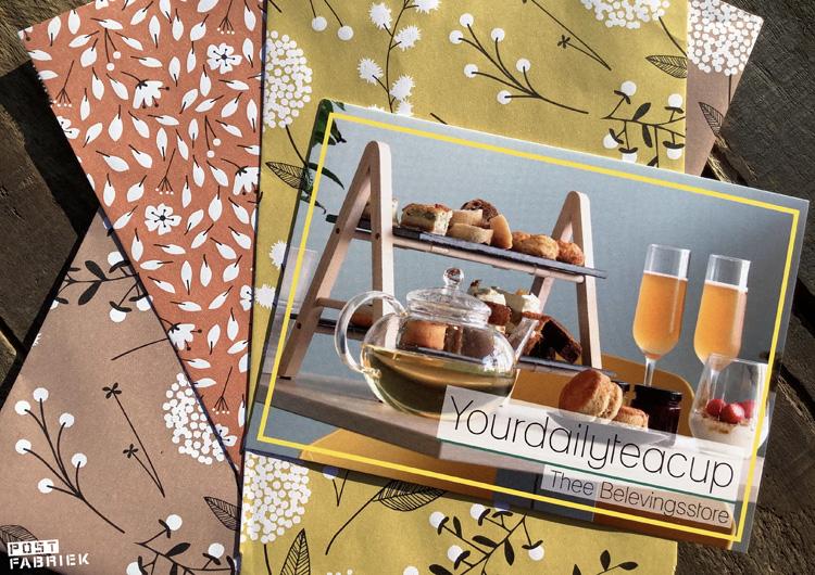 Een kaartje van Your Daily Tea Cup, een Thee Belevingsstore met winkels in Groningen en Leeuwarden.