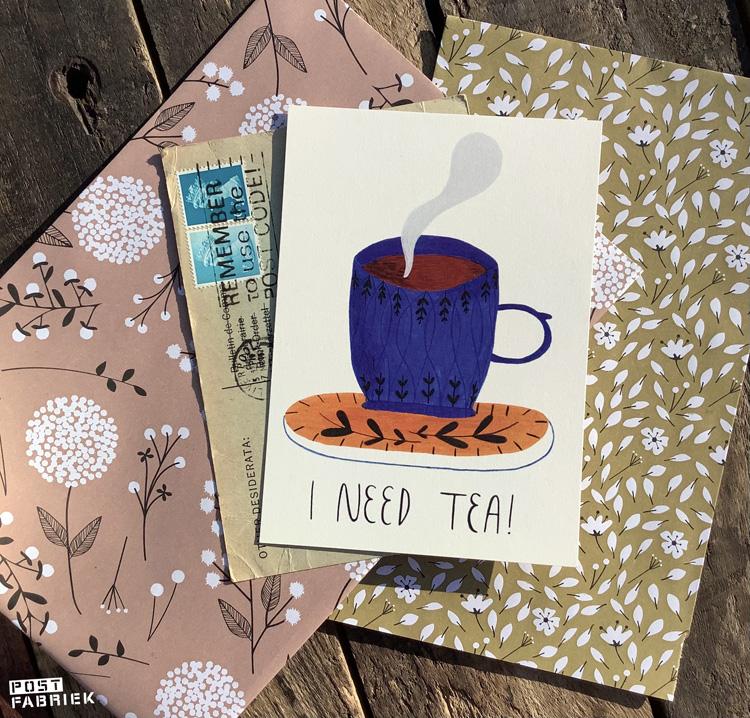 I Need Tea! Dit leuke kaartje van Marloustration bestelde ik bij Your Daily Tea Cup.   Achterop het kaartje staat: 'In the morning, evening, alone or with a friend. There is always time for tea.'