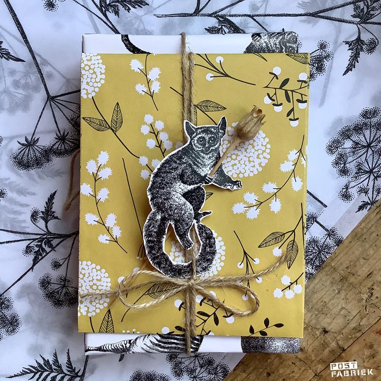 Een cadeaulabel gemaakt met het prachtige cadeaupapier met dieren.