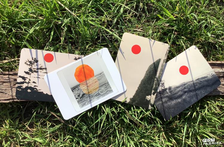 Kaartjes uit het Flow Book for Paper Lovers met foto's van Alicia Bock en Deborah van der Schaaf.