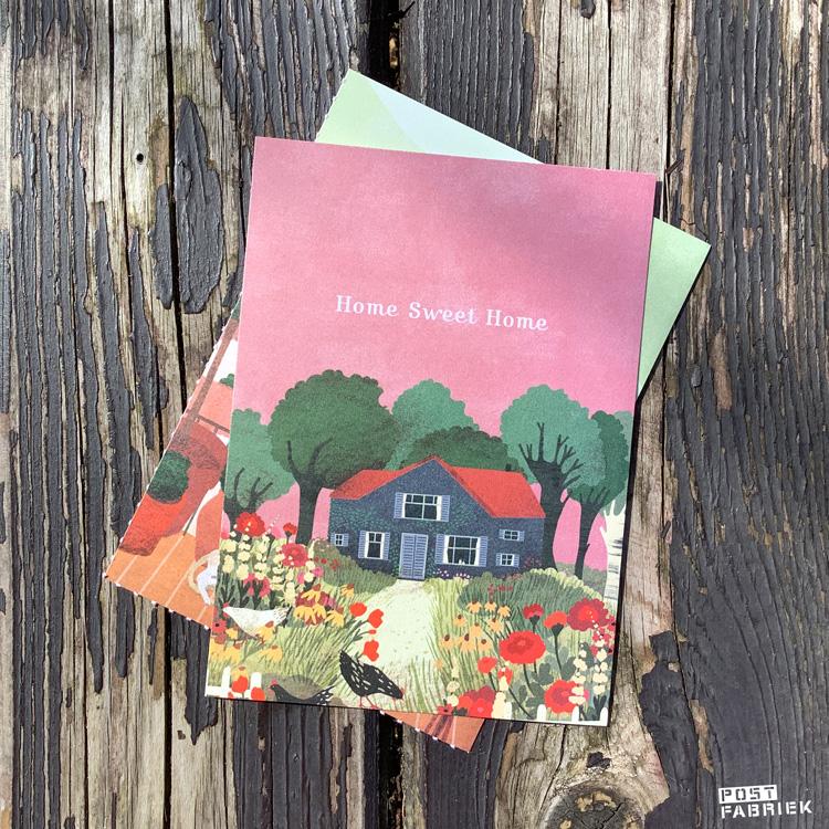 Twee kleine kaartjes uit het Flow Paper Book for Nature Lovers met illustraties van Lotte Dirks. Bij het bovenste kaartje heb ik de scheurrandjes afgesneden.