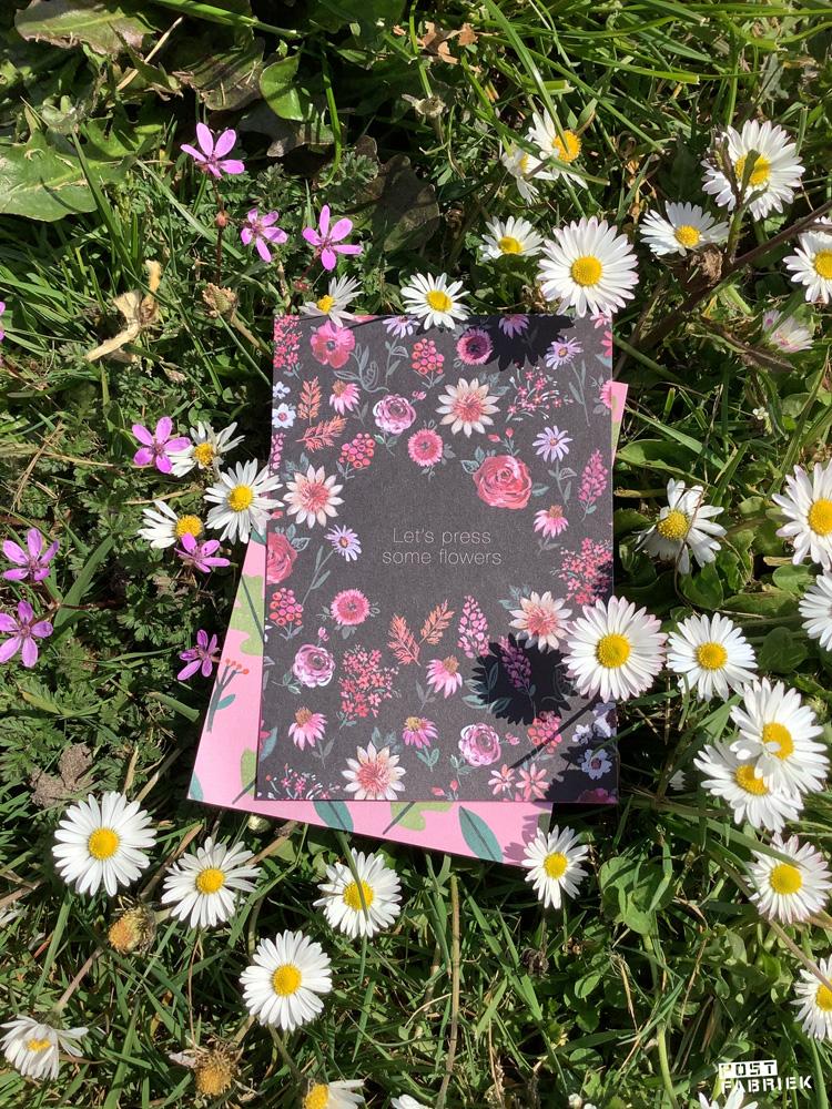 Een uitnodiging met bloemen die door Jennifer Orkin Lewis zijn geschilderd. Op het kaartje staat: 'Let's press some flowers.'