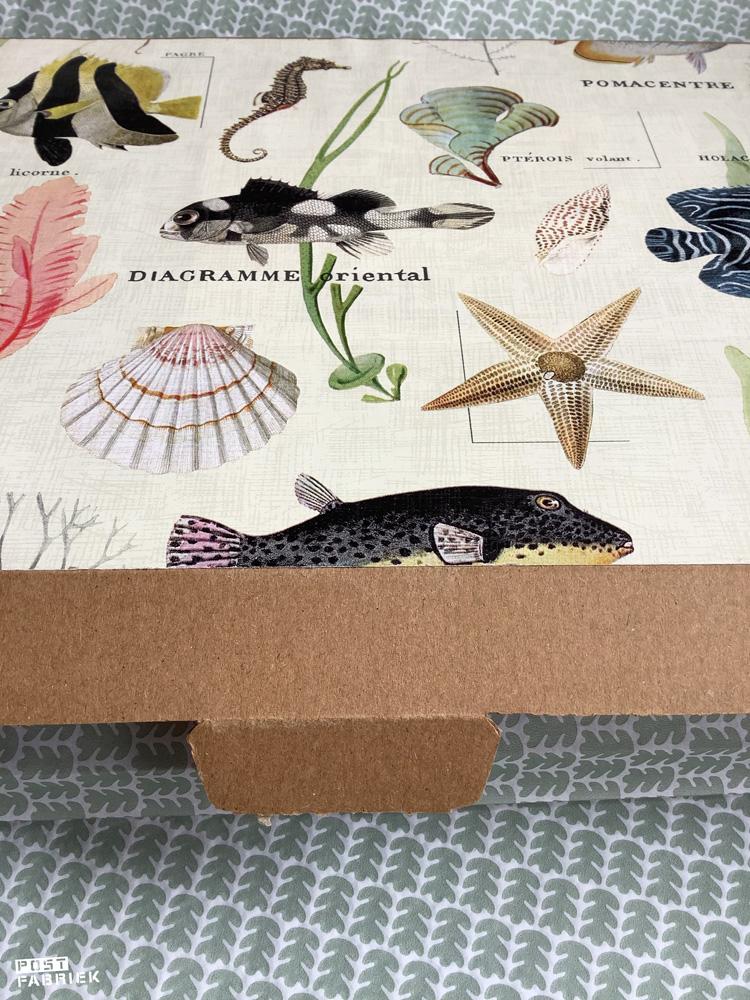 Brievenbusdoosje bekleed met een mooi papiertje met onderwaterwereld print van Vlinders in je buik.