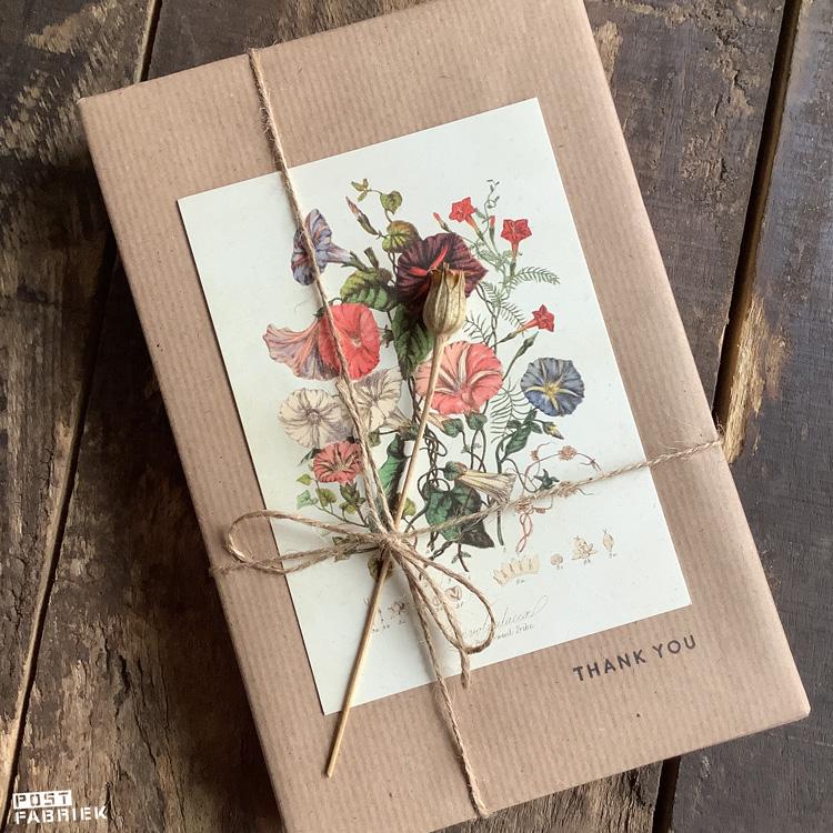 Cadeautje in kraftpapier verpakt met een stempel van Perlenfischer en een kaartje met een illustratie van een klimmende winde van Dille & Kamille.